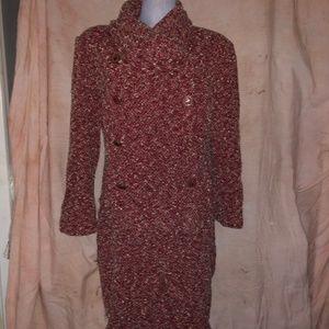 St. John Collection red cream santana knit suit 12